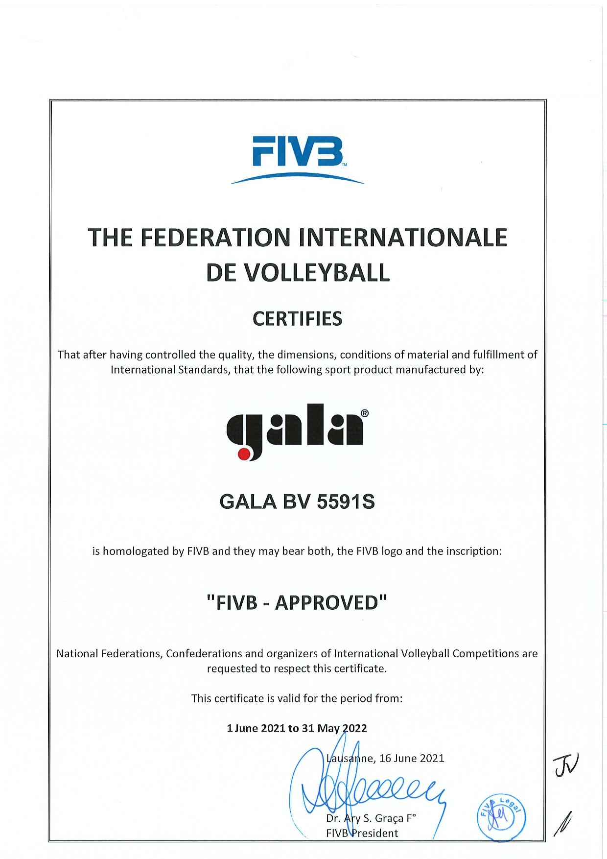 Gala FIVB Certificate BV5591S